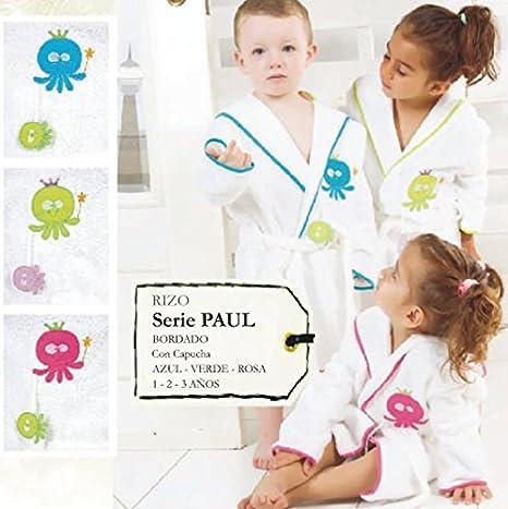Albornoz bebe rizo serie Paul Con Pulpitos Rosas talla 1: Amazon.es: Hogar