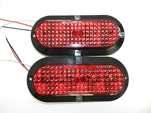 """Pair of 6"""" Oval Red LED Stop Turn Tail Light Surface Mount Trailer Truck Rv Light, USA Made with Lifetime Warranty! (Two Lights)"""