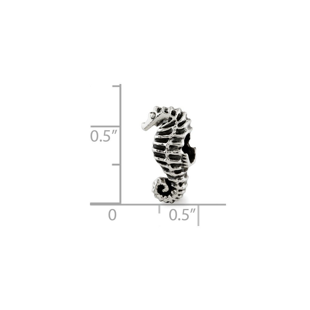 Sterling Silver Jewelry Themed Beads Solid 7.27 mm 14.55 mm Reflections Seahorse Bead
