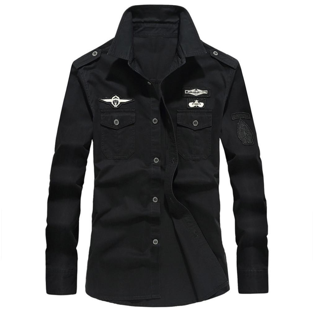 Long Sleeve Shirts for Men-G&Kshop Military Button up Casual Autumn Tops Shirt (5XL, Black)