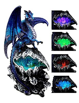 "Atlantic Collectibles Aqua Spyro Elemental Dragon Fossil Cave Crystal Mine Guardian LED Night Light Figurine 12.5""H"