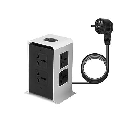 ABS + Resistente al fuego 8 Salida 4 USB Protector contra sobretensiones Tira de la torre Cable de alimentación vertical Socket de escritorio EE. UU. / Reino Unido/UE Enchufe JW-501 (naranja): Bricolaje y herramientas