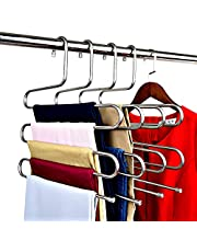 DZOMK Pants Hanger 5 Layers Foldable Stainless Steel Hangers ,Space Saving Pants Hangers Closet Storage Organizer for Jeans Trousers Pants Skirts Scarf