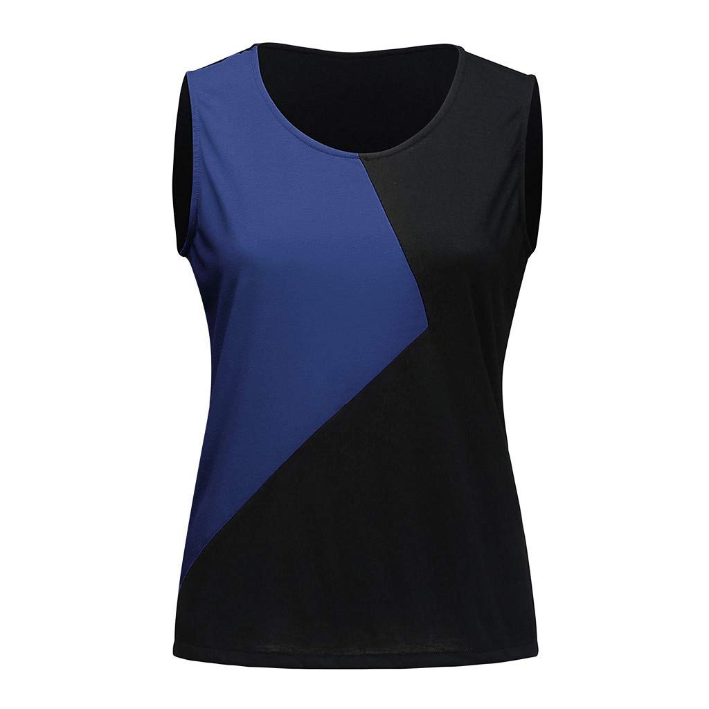 Uscharm Geometric Color Block Camisole WomensSexy Vest Tanks Scoop Neck Sleeveless Blouse Girls Camis(Navy, S) by Uscharm (Image #3)