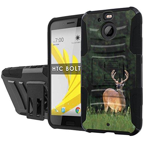 "HTC BOLT Phone Case [NakedShield] [Black/Black] Total Defense Armor Case [KickStand] [Holster] [Screen Protector] - [Deer Hunting] for HTC BOLT [5.5"" Screen]"