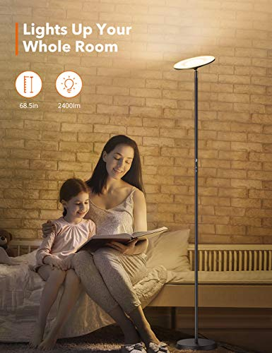 TaoTronics Torchiere Floor Lamp Standing Lamp Dimmable Light UL Adapter Memory Function Reading Lamp for Bedroom Office