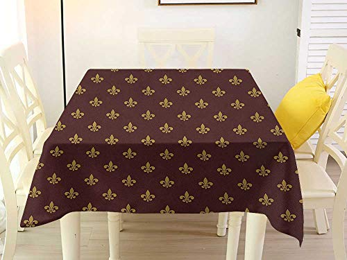 L'sWOW Square Tablecloth Cotton Fleur De Lis French Inspired Pattern European Culture Abstract Vintage Renaissance Burgundy Goldenrod Polyester 54 x 54 Inch ()