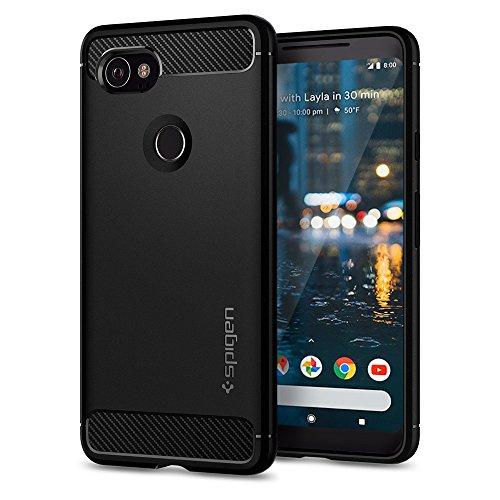 Pixel 2 XL Case, Google Pixel 2 XL Case, Spigen Rugged Armor - Resilient Carbon Fiber Design Soft Case for Google Pixel 2 XL (2017) - Black