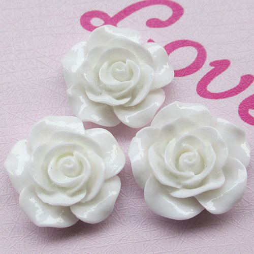 Chenkou Craft Resin Rose Flower Flatback Buttons DIY Scrapbooking Ornament (White Shank Button)