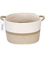 Hinwo Oval Cotton Rope Storage Basket Collapsible Nursery Storage Box Container Organizer with Handles, 13 x 10 inches