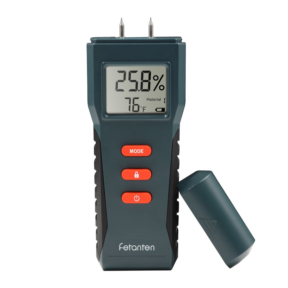 Fetanten TS006 Moisture Meter,Digital LCD Moisture Detector Tester for Wood,Drywall,Plants, Sheetrock,Humidity meter with 2-Pin Type and Temperature