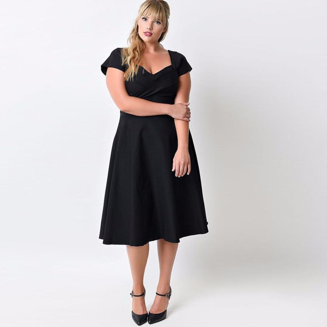 53b09237a1563f Elecenty Donna Vintage Style Taglie Forti Shirt Vestito con Flare Gonna  Vestito Swing solido1X-5X: Amazon.it: Abbigliamento