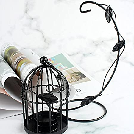 Maoran Candlesticks Candle Holder Iron Birdcage Leaves Shape Lantern Hollow Pattern Home Wedding Decoration Birthday Gift 22cm*14cm*10CM