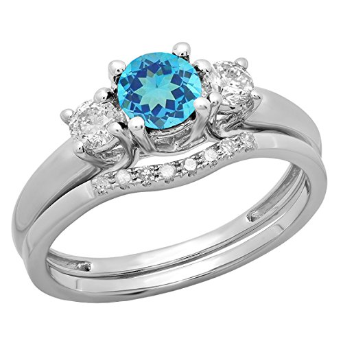 14K White Gold 5 MM Round Blue Topaz & Diamond Bridal 3 Stone Engagement Ring Set (Size 6.5)