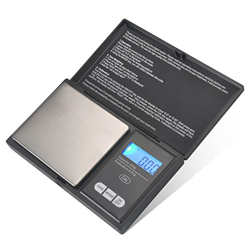 Digital Mini Scale, 200g 0.01g/ 0.001oz Pocket Jewelry Scale, Electronic Smart Scale with 7 Units, LCD Backlit Display, Calibration,Tare Function, Auto Off, Stainless Steel & Slim Design (200/0.01g) 0.01g Digital Pocket Scale