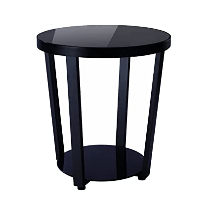 Amazon.com: 1208S Round Glass Top End Table Living Room Side Table ...