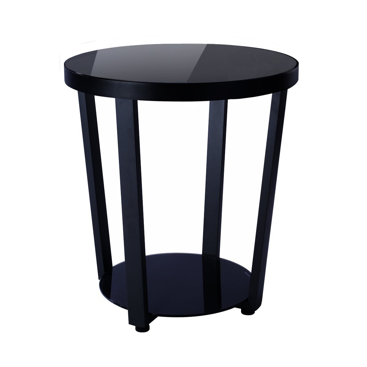1208S Round Glass Top End Table Living Room Side Table Coffee Table, Black