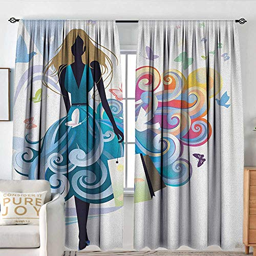 Petpany Curtains for Bedroom Contemporary,Young Woman Silhouette with Shopping Bags Fantasy Skirt Butterflies Fashion, Multicolor,Darkening and Thermal Insulating Draperies 60