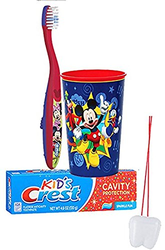 "Disney Mickey Mouse Inspired 3pc. Bright Smile Oral Hygiene Set! Soft Manual Toothbrush, Crest Kids Sparkle Toothpaste & Mouthwash Rise Cup! Plus Bonus ""Remember to Brush"" Visual Aid!"