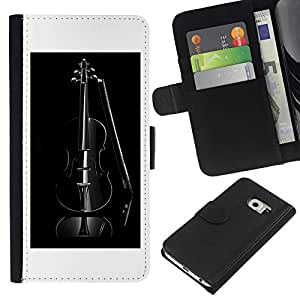 KingStore / Leather Etui en cuir / Samsung Galaxy S6 EDGE / Música Negro Violín