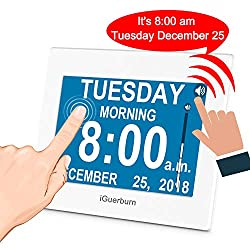 iGuerburn Talking Day Clock 8 Large Display with Touchscreen for Dementia, Seniors, Alzheimer's, Elderly, Visually Impaired, Memory Loss, Digital Calendar with Date and Time, 8 Alarms, Manual Dim