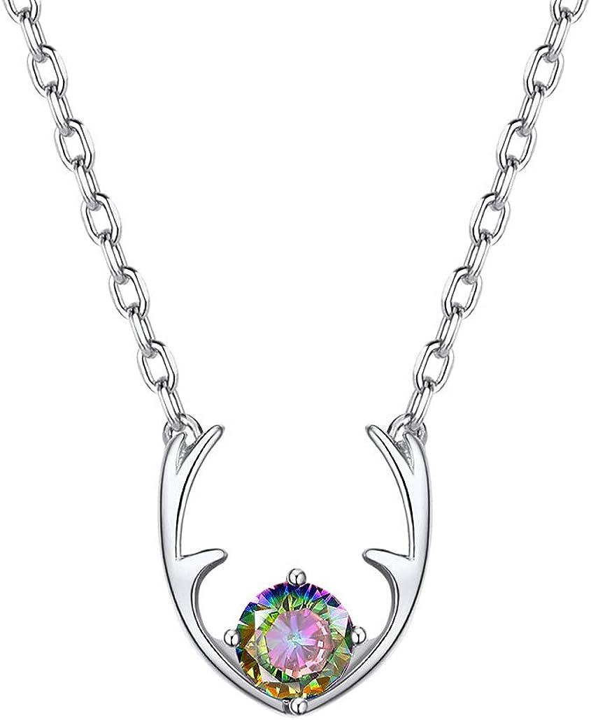 Silvora 925 Plata Collar Corazón Colgante Piedra Preciosa Cuerno de Ciervo Colores Oro y Plata Disponibles Gratis Caja de Regalo