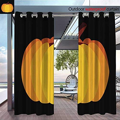 Exterior/Outside Curtains Isolated Vector Yellow Orange Festive Halloween Pumpkin for Patio Light Block Heat Out Water Proof Drape W72 x L108/Pair