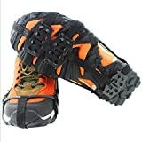 Ice & Snow Grips Over Shoe,Boot Traction Cleat Rubber Spikes Anti Slip 24-Stud Crampons Slip-on Stretch Footwear (2 Pairs)