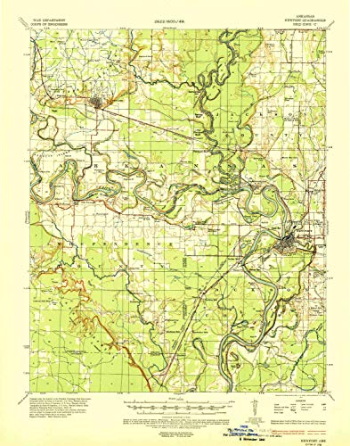 YellowMaps Newport AR topo map, 1:62500 Scale, 15 X 15 Minute, Historical, 1935, Updated 1937, 21.5 x 16.9 in - Polypropylene