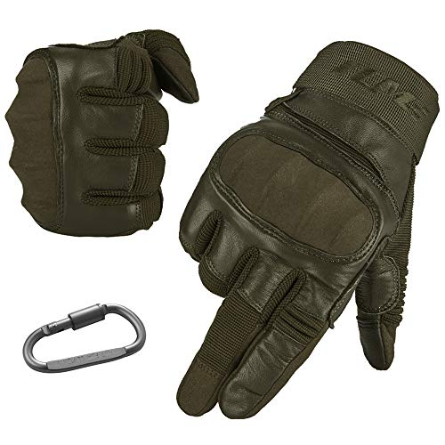 ILM Tactical Gloves Men Touchscreen - Military Mechanic Hunting Shooting Combat Airsoft Heavy Duty Knuckle Gloves Motorcycle Cycling ATV MTV (M, Navy Green)