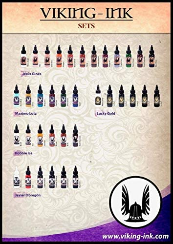 Tinta para tatuaje. Set 6 colores 0,5oz (15ml.) VIKING INK: Amazon ...