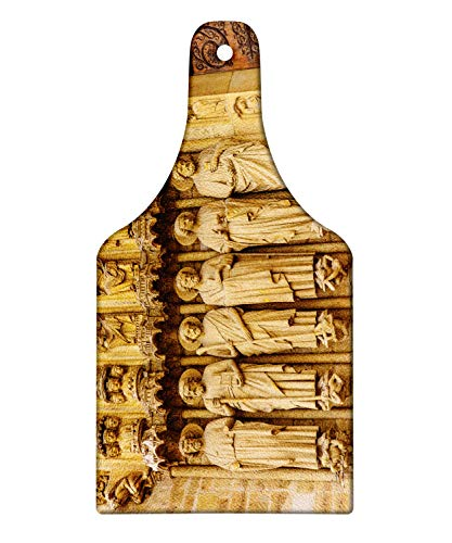 Lunarable Notre Dame Cutting Board, Paris Historical Site Famous Tourist Building Theme, Decorative Tempered Glass Cutting and Serving Board, Wine Bottle Shape, Pale Camel Dark Brown and Dark Rosewood