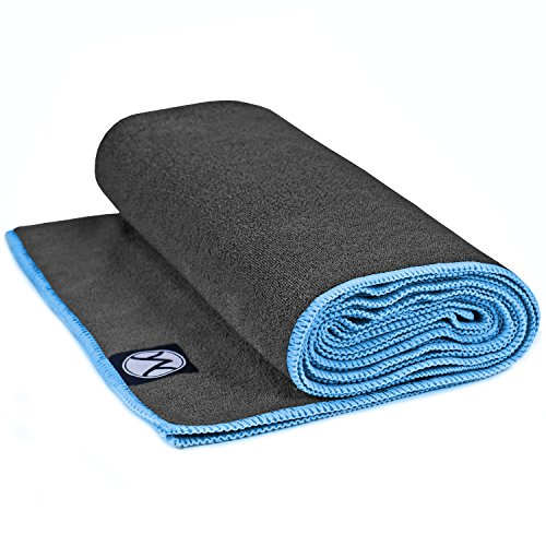 Yoga Towel 24' x 72' by Youphoria Yoga (Gray Towel / Blue Stitching) - Ultra Absorbent, Machine Washable Microfiber, Yoga Mat Length Towels