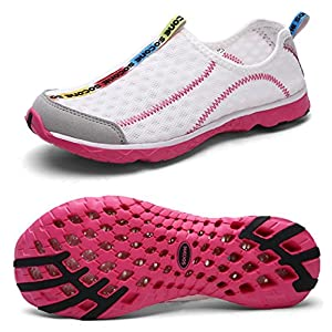 Yotani Mens / Womens Lightweight Soft Mesh Draining Holes Slip-On Beach Walking Pool Swimming Water Shoes Pink Size 6 US Women