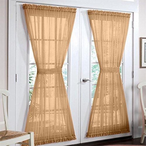 Brylanehome Studio Sheer Voile Door Panel (Tan,60″ W 72″ L)