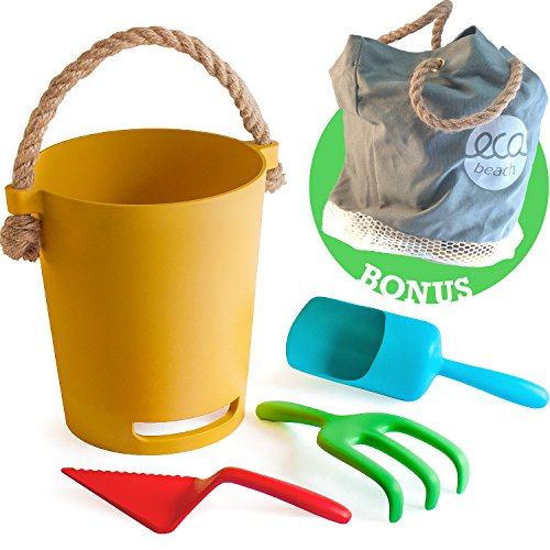 Toys Beach Plastic (Eco Beach Toy Set for Toddlers & Kids | Biodegradable Natural Bamboo Fiber Sand Toys | Includes Carry Tote Bag with Mesh Base | Non Plastic Beach Toys for Boys & Girls of Any Age)