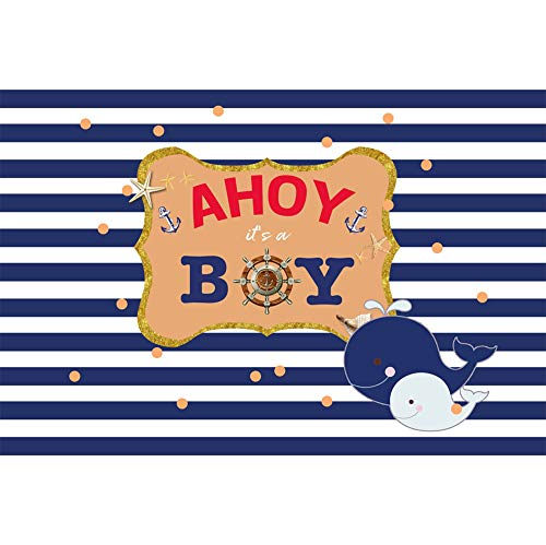 AOFOTO 7x5ft Baby Boy Shower Back Drop Ahoy Helm Nautical Theme Girl or Boy Little Seaman Sailor Gender Reveal Party Decoration Cute Dolphin Blue and White Striped Background Photo Studio Props ()