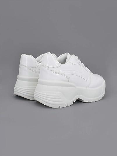 Zapatillas Plataforma Alta Mujer (38 EU, Blanco/Nika): Amazon.es ...