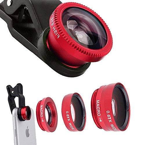 3in1 Universal Clip On Camera Lens for Cell Phones Red - 2