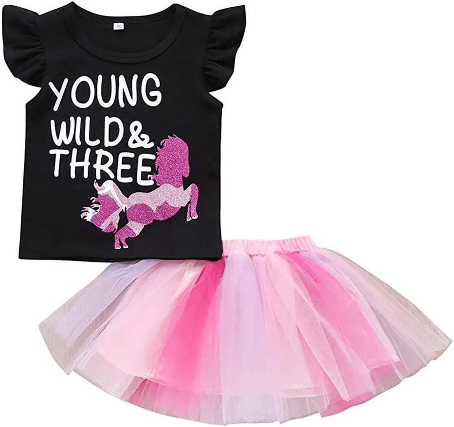 Black, 1-2 Years Toddler Baby Girls Skirt Outfits Young Wild T-Shirt Fly Shoulder Tops Tutu Skirt Set Princess Cute Clothes