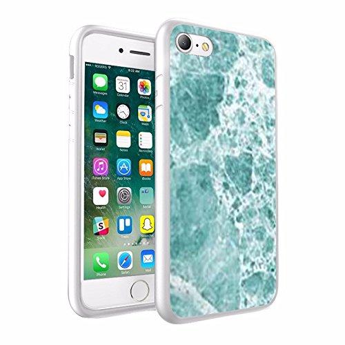iPhone X Hülle, einzigartige Custom Design Prodective harte zurück dünner dünner Fit PC Bumper Case Kratzfeste Abdeckung für iPhone X - Licht Mint & White, Marmor-Design 041