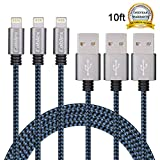 Cablex 3Pack 10FT Ultra Long Nylon Braided iPhone Charging Cable USB Cord Charger Compatible with iPhone 7/ 7Plus/ SE/ 6s/ 6 /6 Plus/ 6s Plus/ 5s/ 5c/ 5/ iPad Air/ Mini/ iPod Nano/ Touch (Blue)
