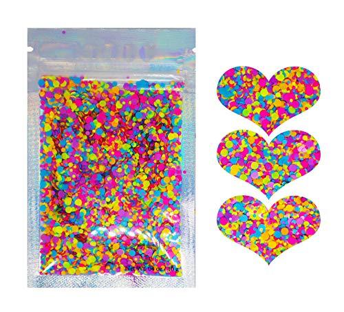 (10 Grams ✮ Neon Rainbow Chunky Matte Glitter ✮ COSMETIC GLITTER ✮ Festival Rave Beauty Makeup Face Body Nail ✮)