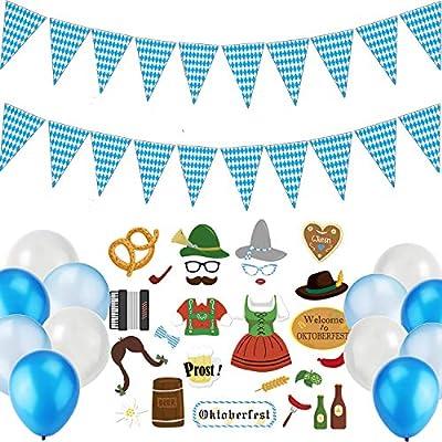 JoyTplay 39Pieza Bayern Party Set Oktoberfest,Oktoberfest Fotográfico Requisiten,10m Banderines Oktoberfest,Blanco/Azul Globos decoración Oktoberfest Bayern Fiesta de la Cerveza: Juguetes y juegos