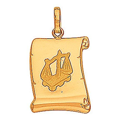 So Chic Bijoux © Pendentif Zodiaque Balance Parchemin Or Jaune 750/000 (18 carats)