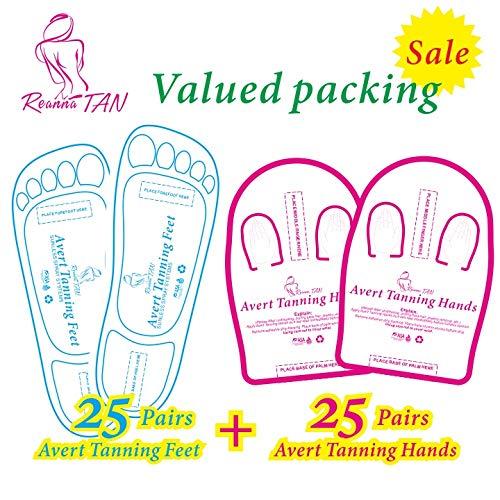 Valued packing 25+25 Pairs (Blue 25 Feet+Pink 25 Hands) Spray Tanning Feet(Hands) Stick Pads; Avert Tanning Feet;Avert Tanning Hands