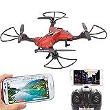 Foldable RC Drone APP Control Headless Aerial Quadcopter 2.4G 6-Axis Gyro One Key Return 360°Rotation RC Quadrotor with FPV 720P Camera & LED light Black (Red)