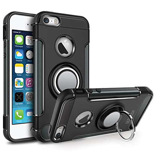 MAYtobe iPhone SE Case, iPhone 5S Case, iPhone 5 Case - Ultra Defender TPU + PC Shock for Apple iPhone 5S 5 SE Protective Ring Holder Case Work with Magnetic Car Mount 360 Rotating - Black