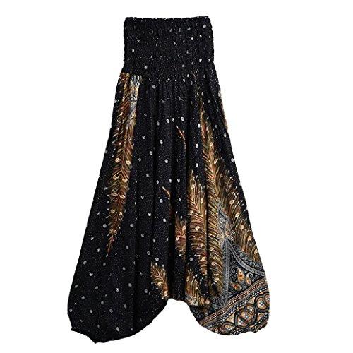 Feixiang Sexy Pantalones de Yoga Flojos de Verano Casual de Las Mujeres Holgados Pantalones de Harem de Boho Aladdin Mono (Azul Marino, tamaño Libre) Negro