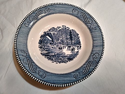 Currier & Ives, Blue by Royal, China Rim Soup Bowl, Early Winter